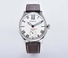 44mm parnis white dial Roman numerals 6498 hand winding mechanical mens watch