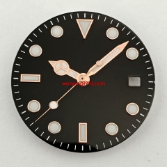 28.5mm black sterile watch Dial Rose Golden edge For NH35 NH35A movement(dial+hands)