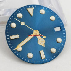 28.5mm sterile blue watch Dial Gold Hands fit NH35 NH35A Automatic Movement watches
