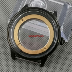 42mm Black PVD steel brushed watch case Fit miyota 8215/8205/821A ETA 2836 DG2813 3804 automatic movement P1118