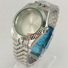 40mm sapphire glass automatic silver Watch Case with jubilee bracelet fit NH35 NH36 movement