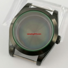 40mm Black PVD Watch case sapphire glass without magnifying glass Fit NH35 NH36 automatic movement