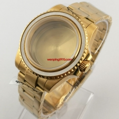 40mm sapphire glass Watch Case Full Gold Plated Bracelet Strap solid back Fit Seiko NH35 NH36 Movement