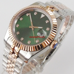 Bliger 40mm Men's Top Casual Miyota 8215 Automatic Watch Silver Rose Gold Case Sapphire Glass Green sterile Dial Mechanical Watch Luxury Gift 3276