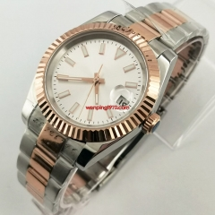 Bliger 40mm Men's Top Casual Miyota 8215 Automatic Watch Silver Rose Gold Case Sapphire Glass silver sterile Dial Mechanical Watch Luxury Gift