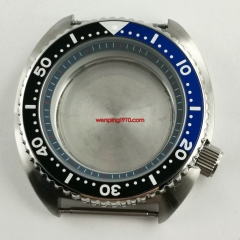 45mm Watch Case Blue chapter ring Black Blue Rotating Bezel Alloy Insert Fit Seiko NH35 NH36 Movement Sapphire Screw Crown at 4 o'clock