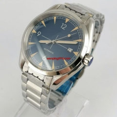 40mm sterile blue dial NH35A Automatic mens Watch sapphire crystal steel case bracelet