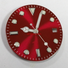 28.5mm red watch Dial with silver hands fit Seiko NH35 NH36 automatic movement