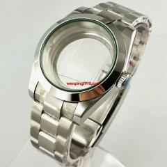 40mm flat sapphire glass Watch Case Oyster bracelet polished center glass back fit Seiko NH35 NH36 automatic movement