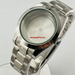40mm flat sapphire glass Watch Case Oyster bracelet polished center solid back fit Seiko NH35 NH36 automatic movement